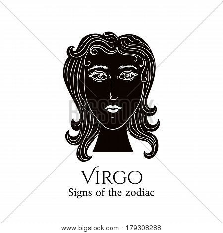 Signs of the zodiac. Virgo hand draw. Black silhouette and white details. Vector illustration isolated on a white background.