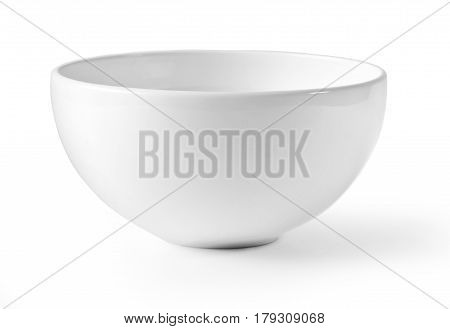 White empty bowl isolated on white background with clipping path