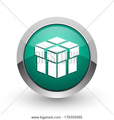 Box silver metallic chrome web design green round internet icon with shadow on white background.
