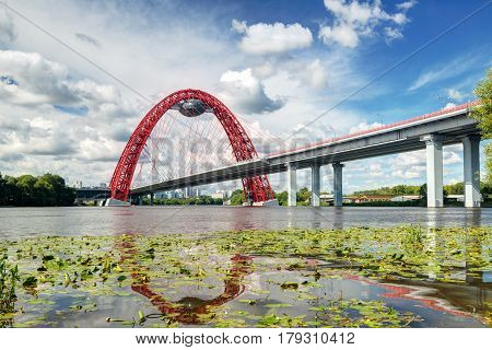MOSCOW, RUSSIA - AUGUST 3, 2013: Modern cable-stayed bridge in Moscow (Zhivopisny bridge)