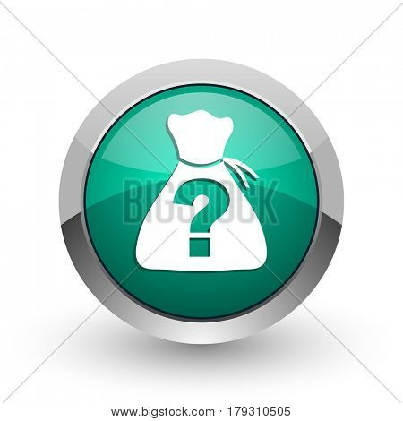 Riddle silver metallic chrome web design green round internet icon with shadow on white background.
