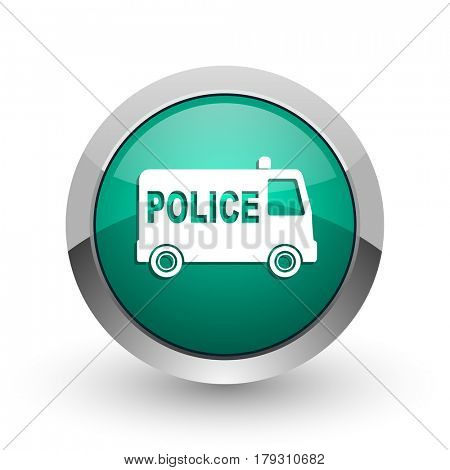 Police silver metallic chrome web design green round internet icon with shadow on white background.