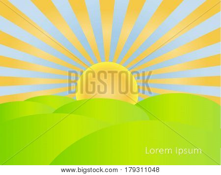 Background with sunrise, blue sky, green hills, Lorem ipsum stock vector illustration