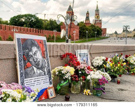 MOSCOW - JULY 10, 2015: Flowers at the place of murder of the russian opposition leader Boris Nemtsov near Kremlin. Boris Nemtsov was killed in the night of Feb 28 2015 in center of Moscow.