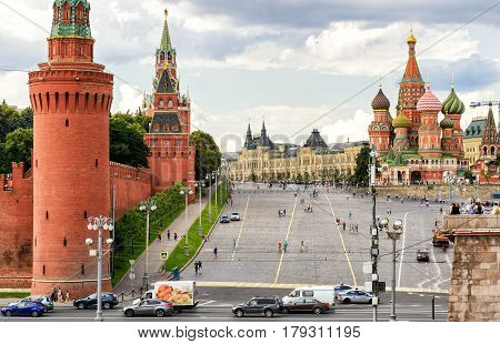 MOSCOW - JULY 10, 2015: Red Square with Vasilevsky descent. Kremlin and Cathedral of St. Basil.