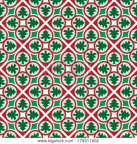 Colorful seamless Christmas background pattern with trees