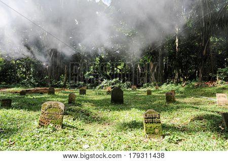 Ubud, indonesia - 10 February 2013: Cemetery at Sacred Monkey Forest Sanctuary on Ubud Bali Indonesia