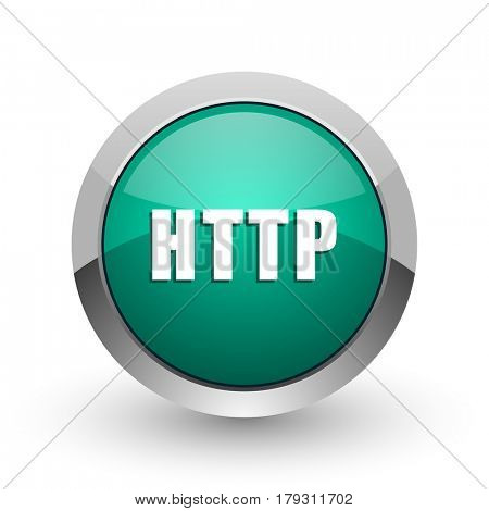 Http silver metallic chrome web design green round internet icon with shadow on white background.