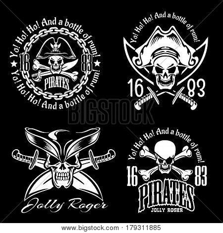 Pirates emblem set with pirate spirit flying dutch pirate bay pirates adventures descriptions vector illustration on black