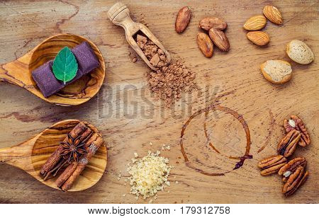Desserts Background And Menu Design. Ingredients For Bakery , Pecan, Almonds,coffee Beans ,cocoa Bea