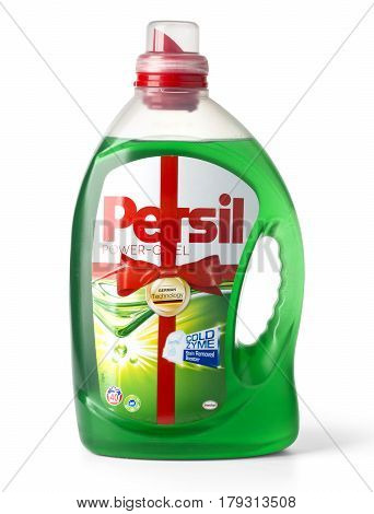 Chisinau Moldova - March 08 2017: Plastic bottle of Persil Power Gel 3L. 60 Loads Laundry Detergent Lavender Freshness. Power Booster. Produced by Henkel Germany