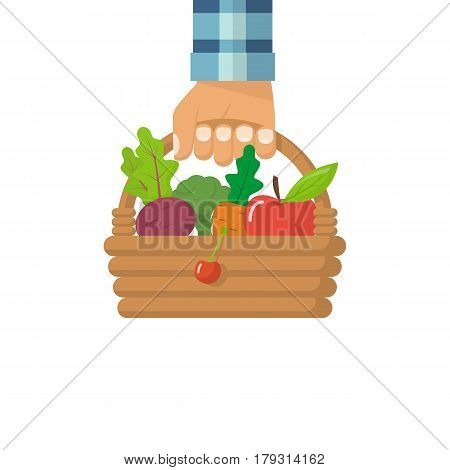 Man fermer hold basket vegetables. Healthy lifestyle concept. Vector illustration flat design. Organic foods filled in a wicker basket. Fresh vegetables and fruits in a hand. Vegetarian food.