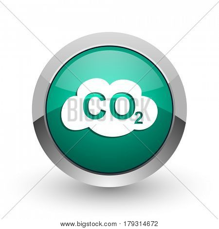 Carbon dioxide silver metallic chrome web design green round internet icon with shadow on white background.