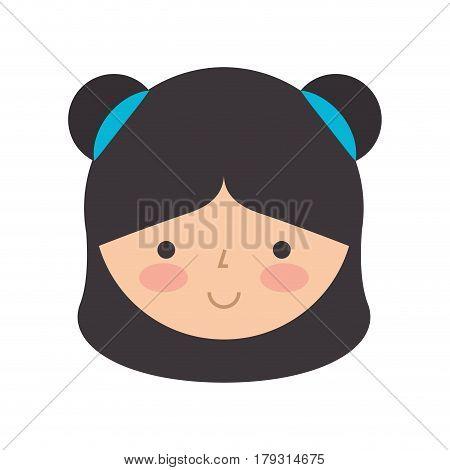 cute japanese doll head vector illustration design