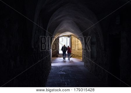 Dark Stone Street  In An Old Town  And People