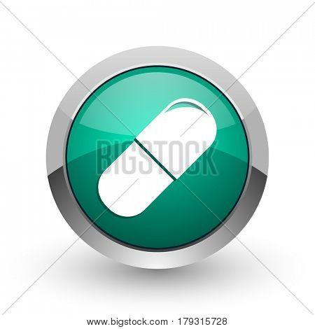 Drugs silver metallic chrome web design green round internet icon with shadow on white background.