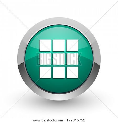 Thumbnails grid silver metallic chrome web design green round internet icon with shadow on white background.