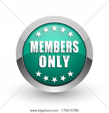 Members only silver metallic chrome web design green round internet icon with shadow on white background.