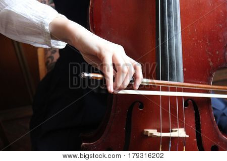 The girl is playing cello during the music lesson