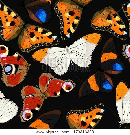 Blue tropical butterflies and butterfly silhouettes vector seamless background