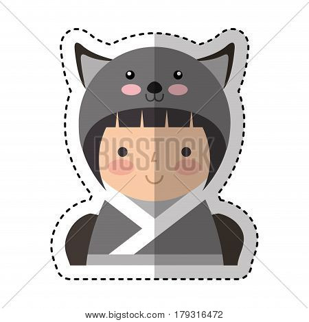 cute japanese doll with a disguise of a mouse vector illustration design