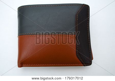 Photographing black and brown wallet on a white background