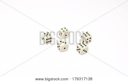 White dice isolated on white background. game abstract.