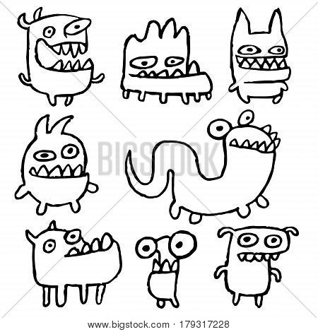 Funny Outline Monsters in Different Shapes in Black White Colors Vector Illustration. Cartoon Cool Isolated Characters Freehand Digital Drawing Cute Set. Cheerful Collection Creatures for Web Icons and Shirt.