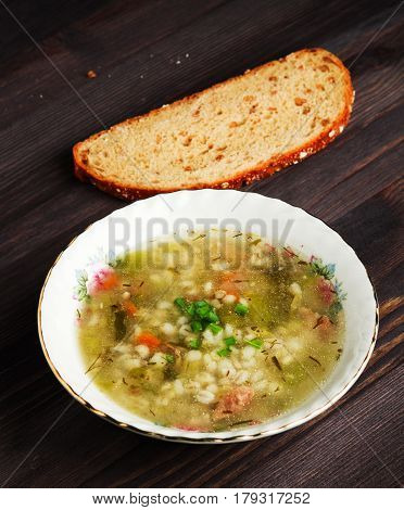 Pickle Soup .healthy Soup .soup Top View