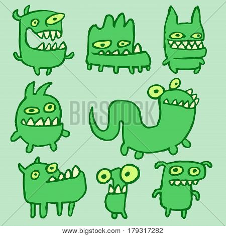 Green Monsters Emoticons Set. Funny Cartoon Cool Characters. Contour Freehand Digital Drawing Cute Thing. Green Color Background. Cheerful Collection Creatures for Web Icons and Shirt. Vector Illustration.