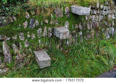 Step style in dry stone wall Cornwall England United Kingdom.