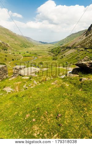 View of Nant Ffrancon Pass. Idwal Cottage Snowdonia National Park Gwynedd Wales United Kingdom.