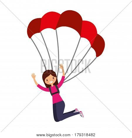 young woman with parachute vector illustration design