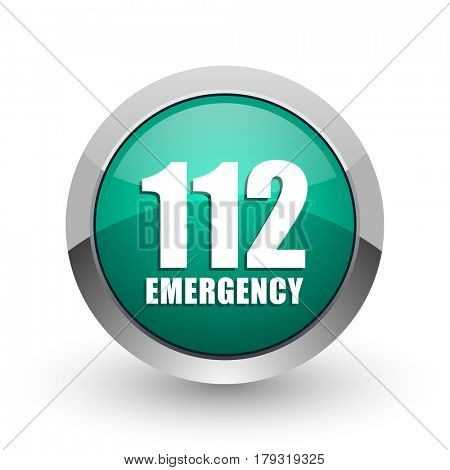 Number emergency 112 silver metallic chrome web design green round internet icon with shadow on white background.