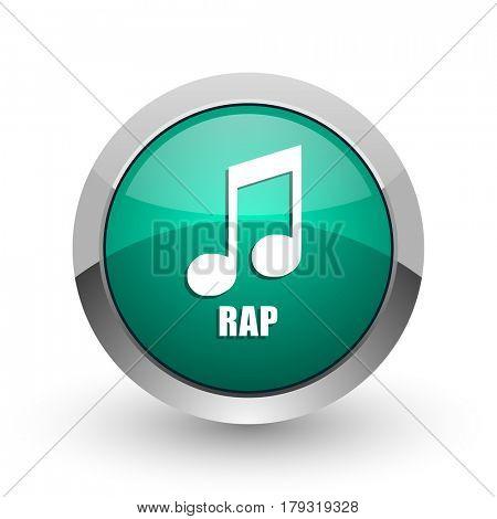 Rap music silver metallic chrome web design green round internet icon with shadow on white background.