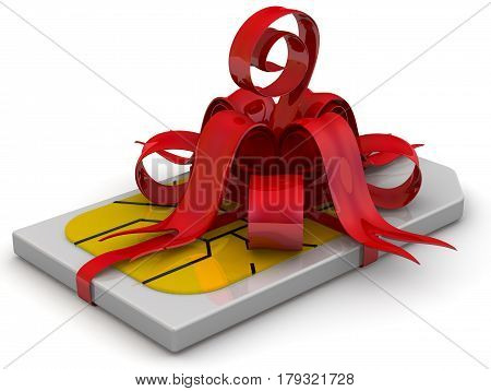 SIM card as a gift. One SIM-card tied with a red ribbon and bow on white surface. Isolated. 3D Illustration