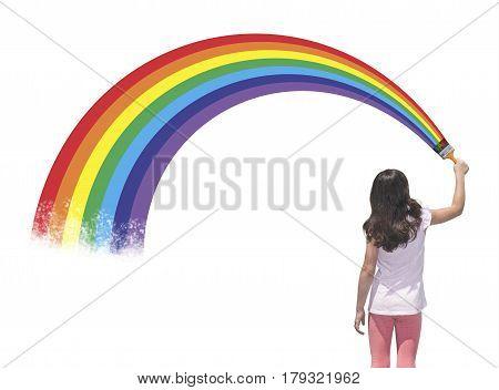Girl painting a beautiful rainbow, creativity concept