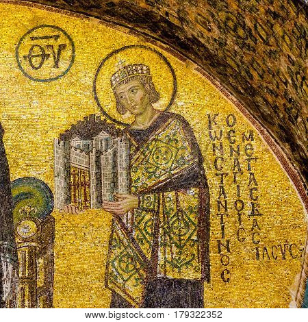 Konstantin the Great handing over a model of the city Constantinople. Mosaic from 944. Hagia Sophia Istanbul October 9 2013
