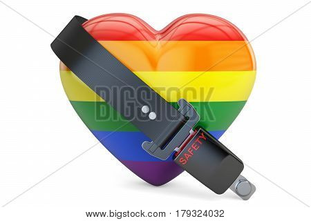 gay heart rainbow with seatbelt safety and secure concept. 3D rendering