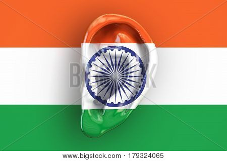 Indian intelligence concept ear on the flag of India. 3D rendering