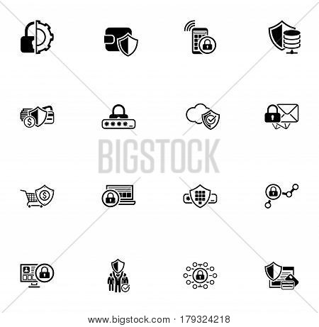 Security and Protection Icons Set. Isolated Illustration. App Symbol or UI element. Wallet protection and mobile security symbol, secure mail symbol, password protection and private security symbol.