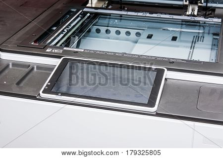 touch screen of printer for copying documents