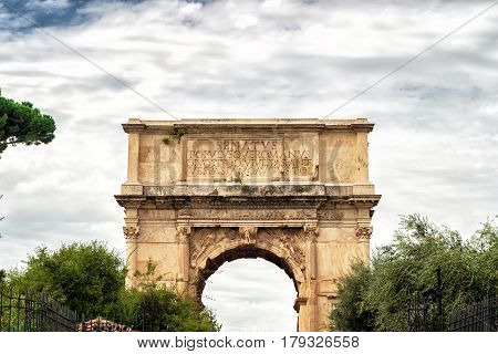 The Arch of Titus at the Roman Forum in Rome, Italy