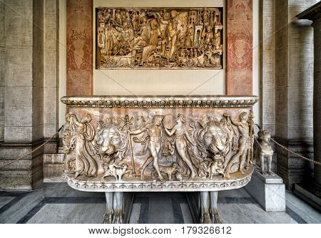 VATICAN - MAY 14, 2014: Antique bath in the Vatican Museum. Vatican City, Rome, Italy.