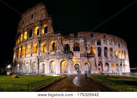 View of the Colosseum at night, Rome, Italy