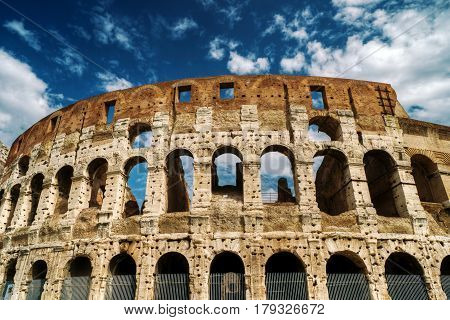 The Colosseum (Coliseum) in Rome in summer, Italy
