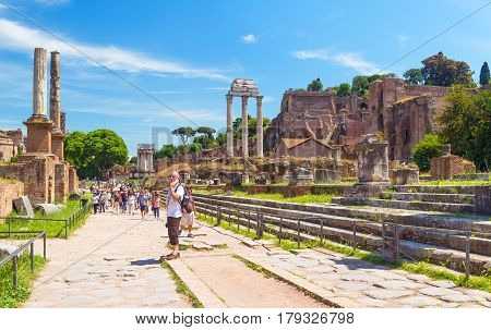 ROME - MAY 10, 2014: Ruins of Roman Forum in Rome, Italy. The Roman Forum is an important monument of antiquity and is one of the main tourist attractions of Rome.