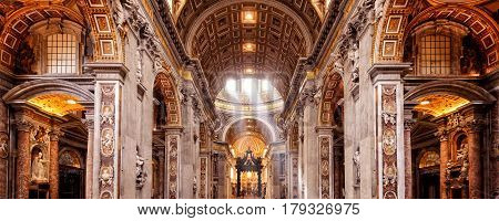 ROME, ITALY - MAY 12, 2014: Inside the St. Peter's Basilica. St. Peter's Basilica is one of the main tourist attractions of Rome.