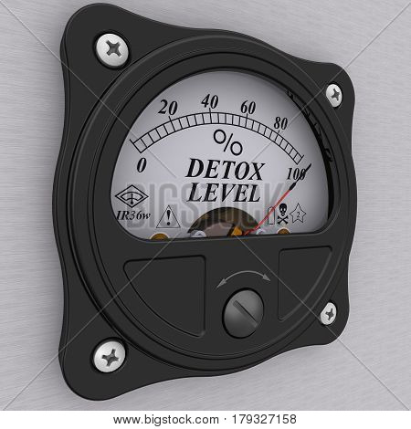 Detox level indicator. Analog indicator showing the level of detoxification. 3D Illustration. Isolated