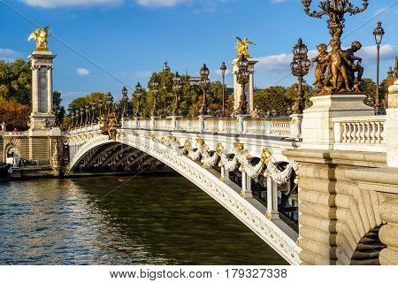 The Pont Alexandre III in Paris, France. This bridge was named after russian Tsar Alexander III.